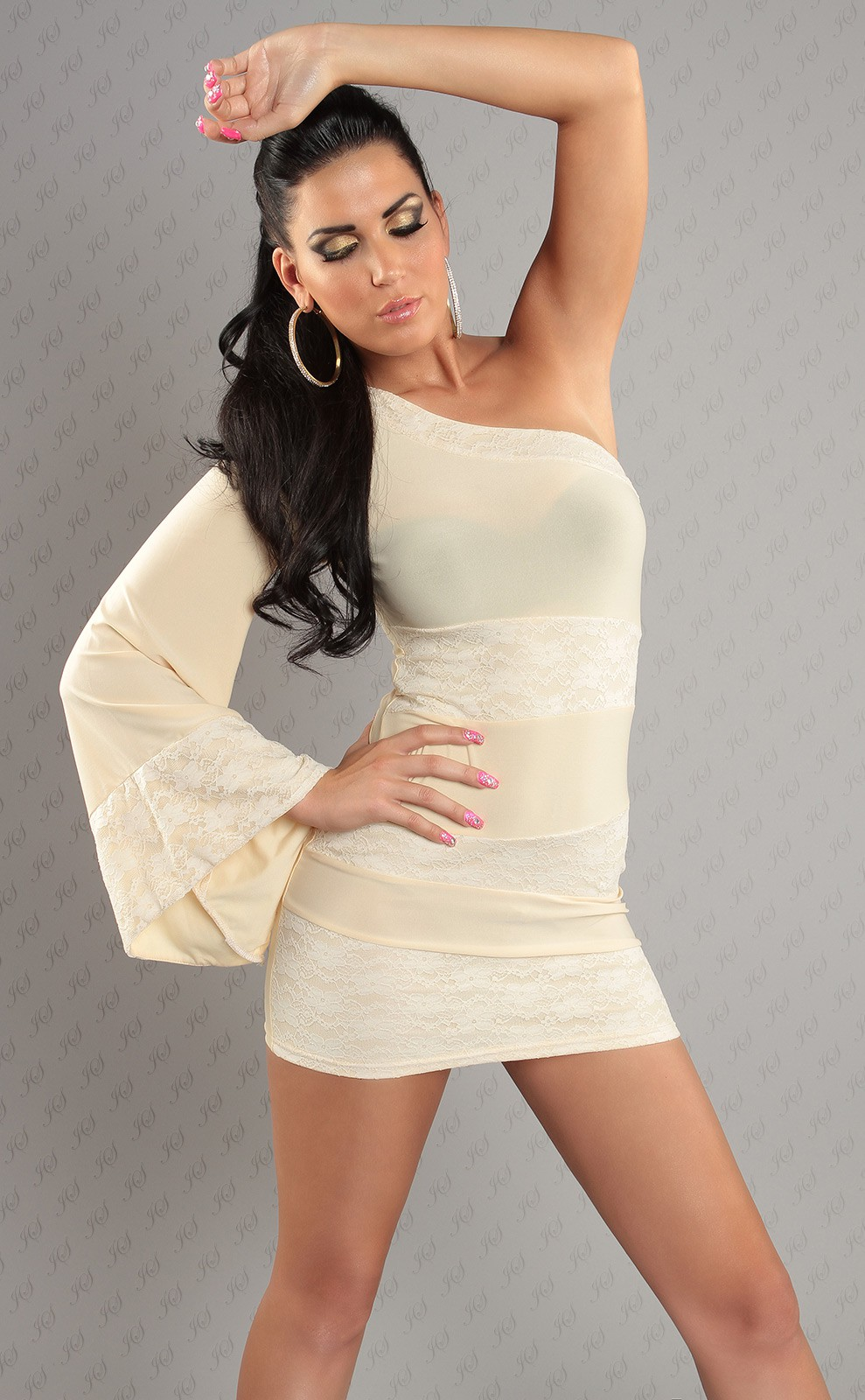 Cream Asymmetrical One Sleeve Lace Insets Dress