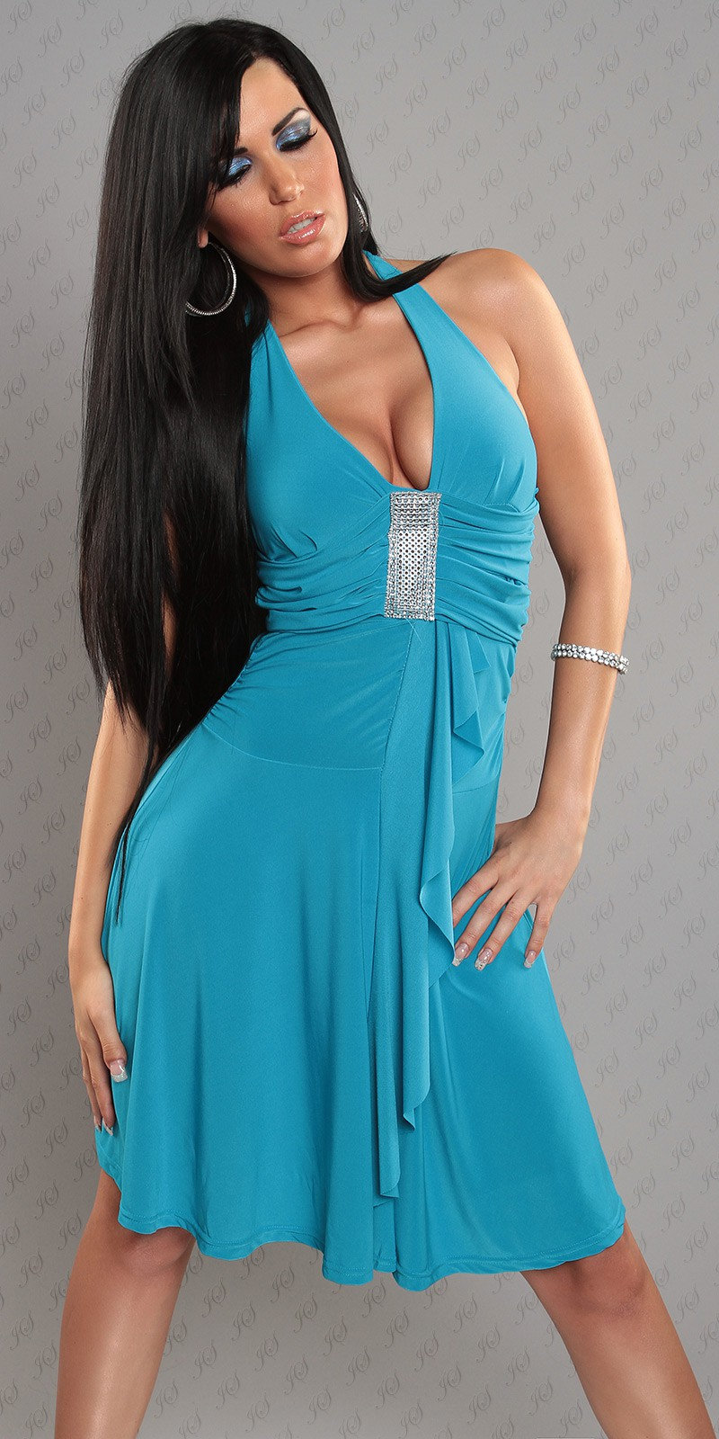 Blue Halter Rhinestone Accent Evening Dress