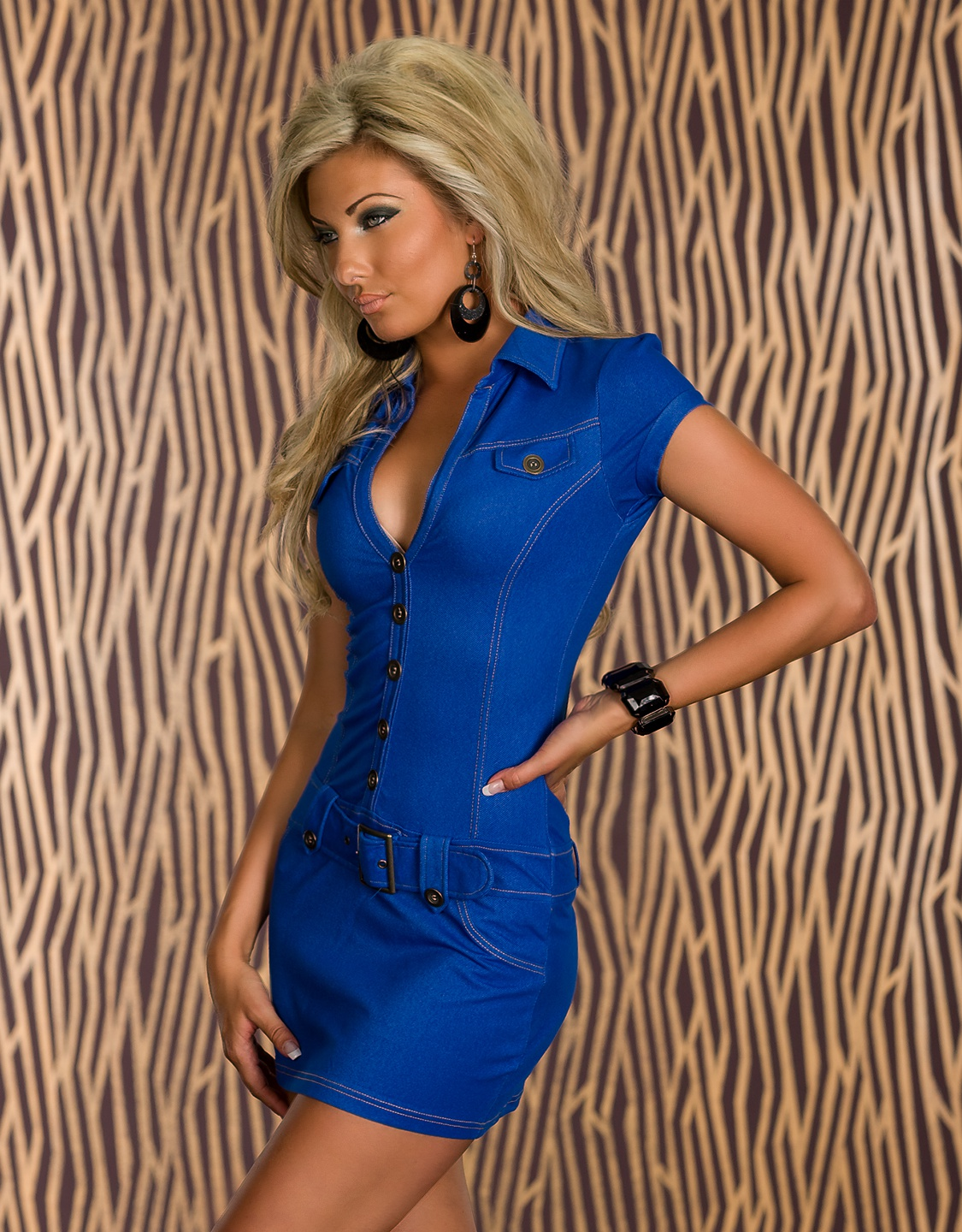 Blue Buttoned Belted Dress With Collar
