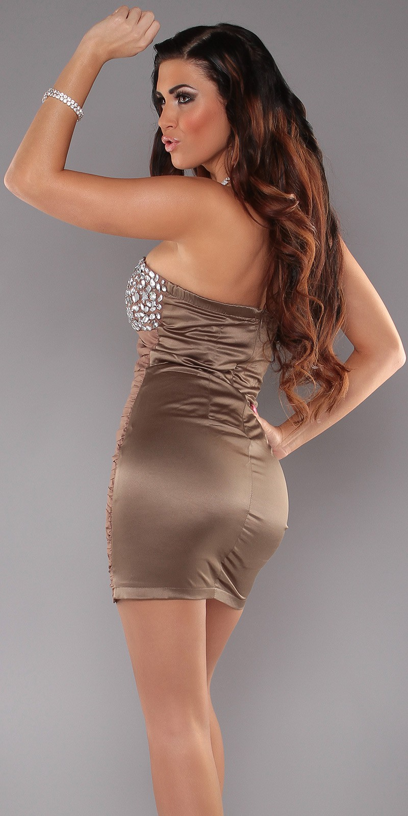 Brown Slinky Strapless Evening Dress With Rhinestones