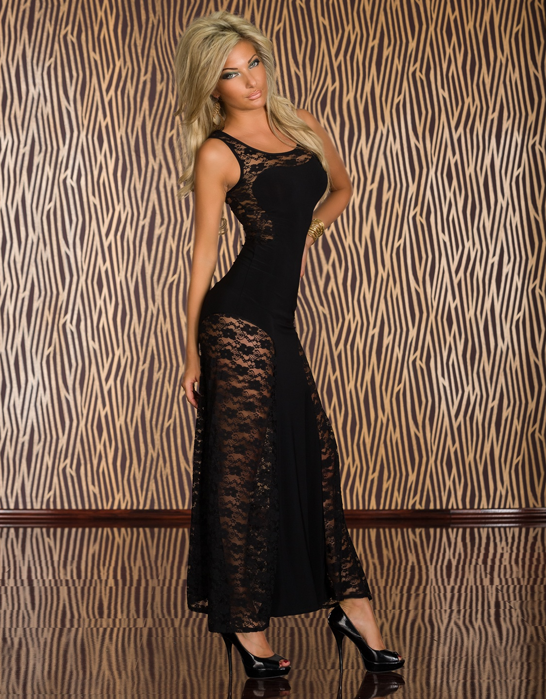Black Lace Maxi Dress With Side Insets