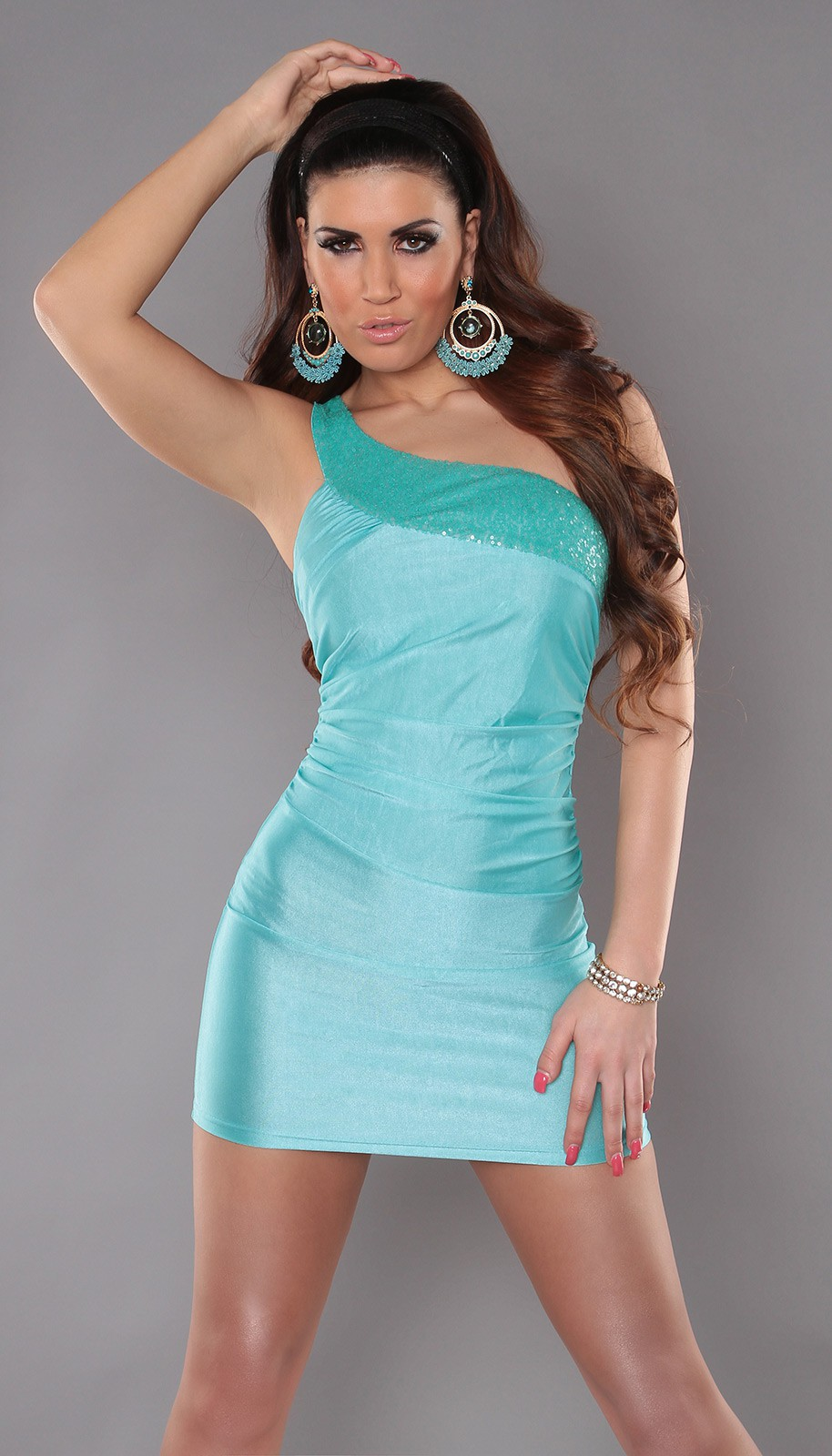Aqua One Shoulder Sequined Club Dress