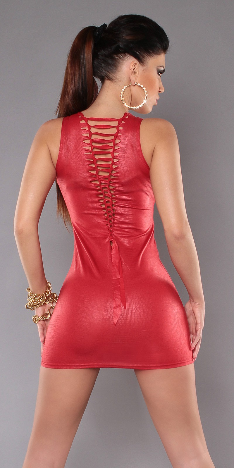 Red Lacing Snake Texture Mini-Dress