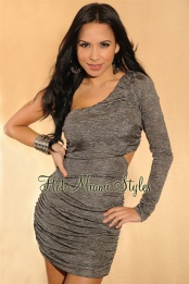Silver Ruched Cut-Out Single Sleeve Dress