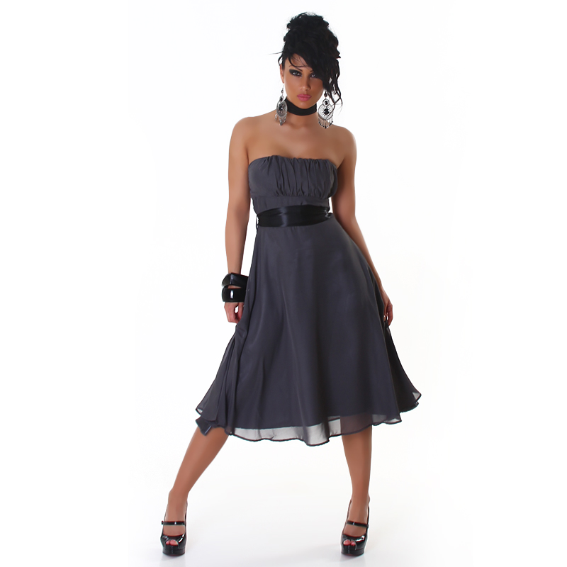Dark Grey Strapless Bell-Shaped Belted Midi Coctail Dress