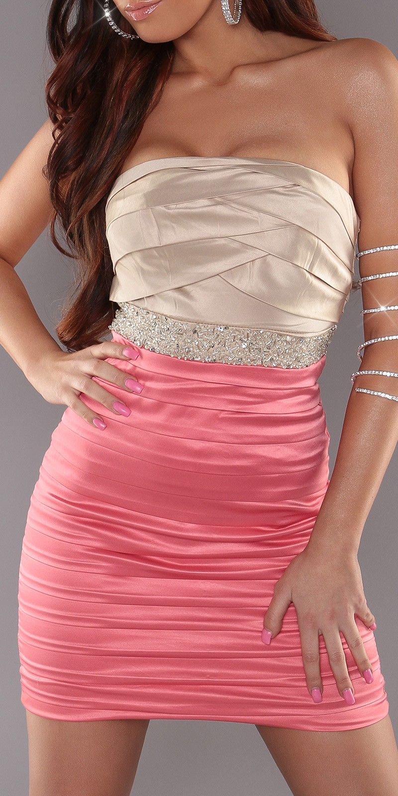 Coral-Beige Sexy Pleated Dress With Sequins