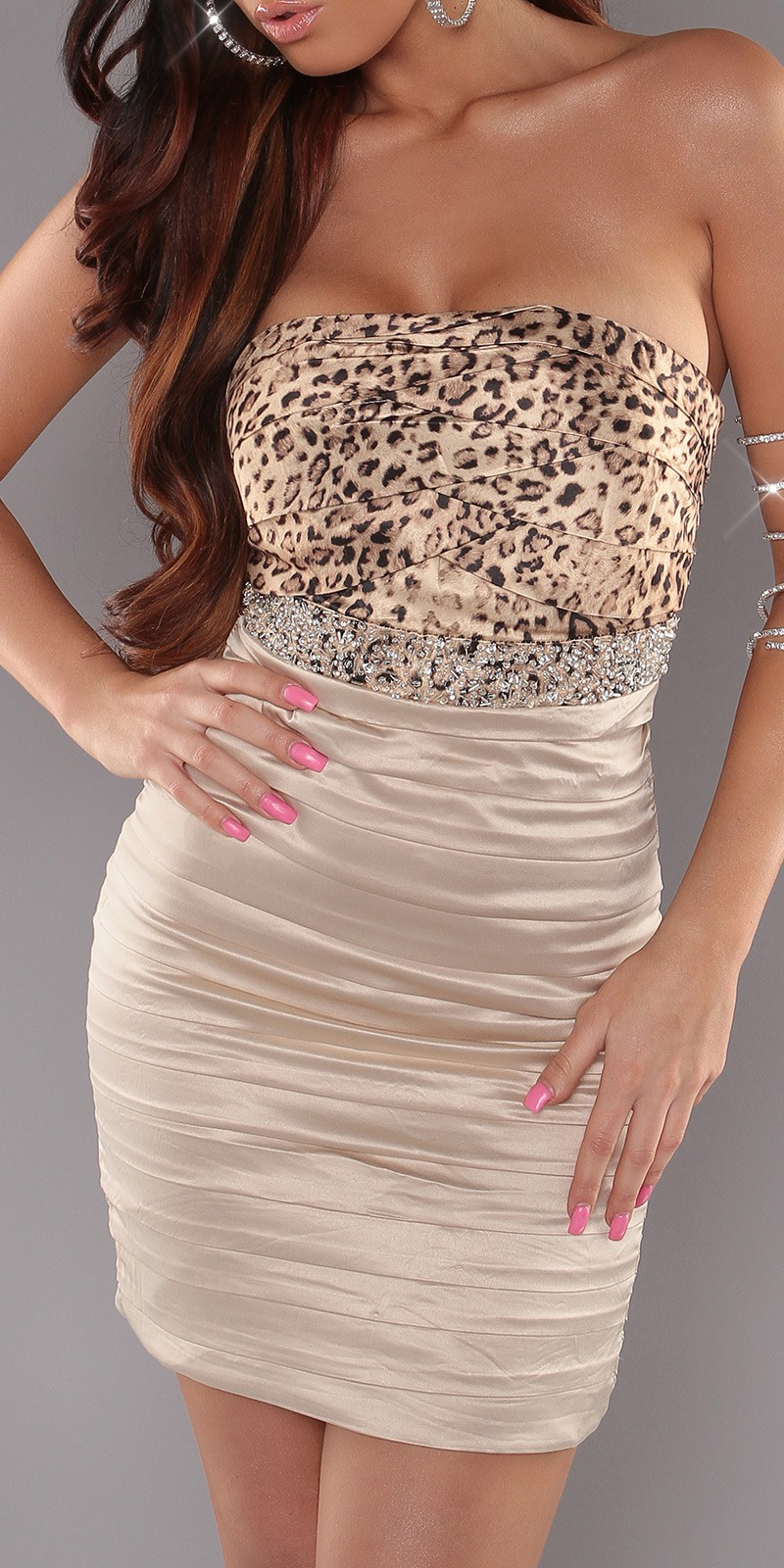 Leopard Sexy Pleated Dress With Sequins