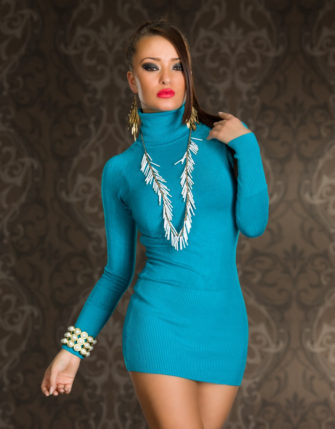 Turquoise Turtleneck Long Sleeves Sweater Dress