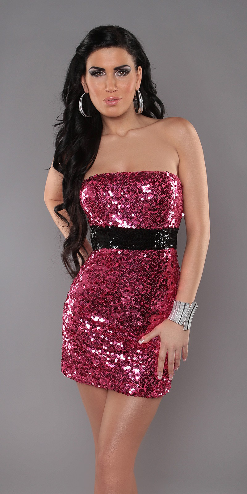 Fuchsia Sexy Bandeau-Minidress With Sequins