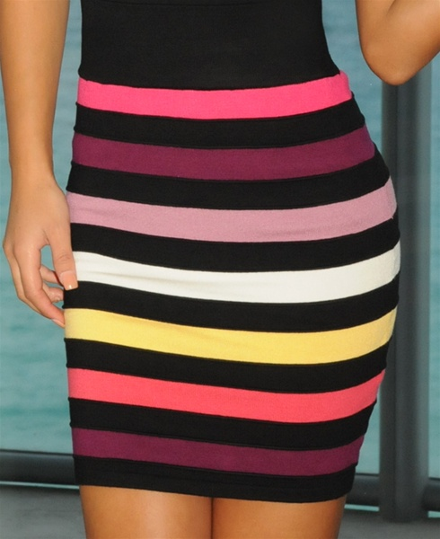 Multi Colored Bandage Mini Skirt
