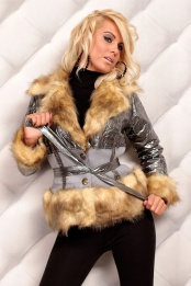 Silver Metallic Faux Fur Belted Jacket