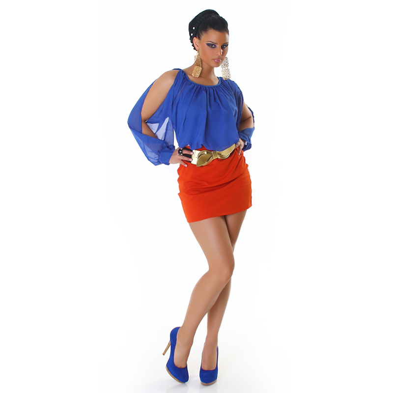 Blue Top Red Bottom Sleeve Cut Belted Dress