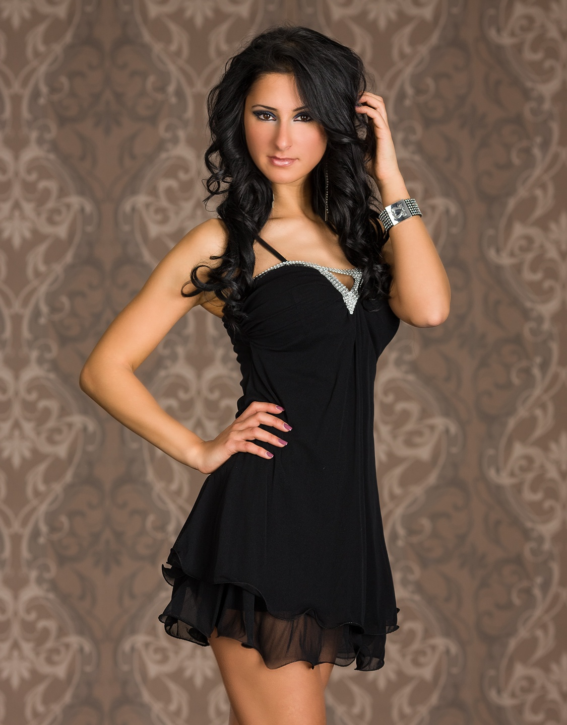 Black Jeweled Evening Mini Dress With Thin Straps
