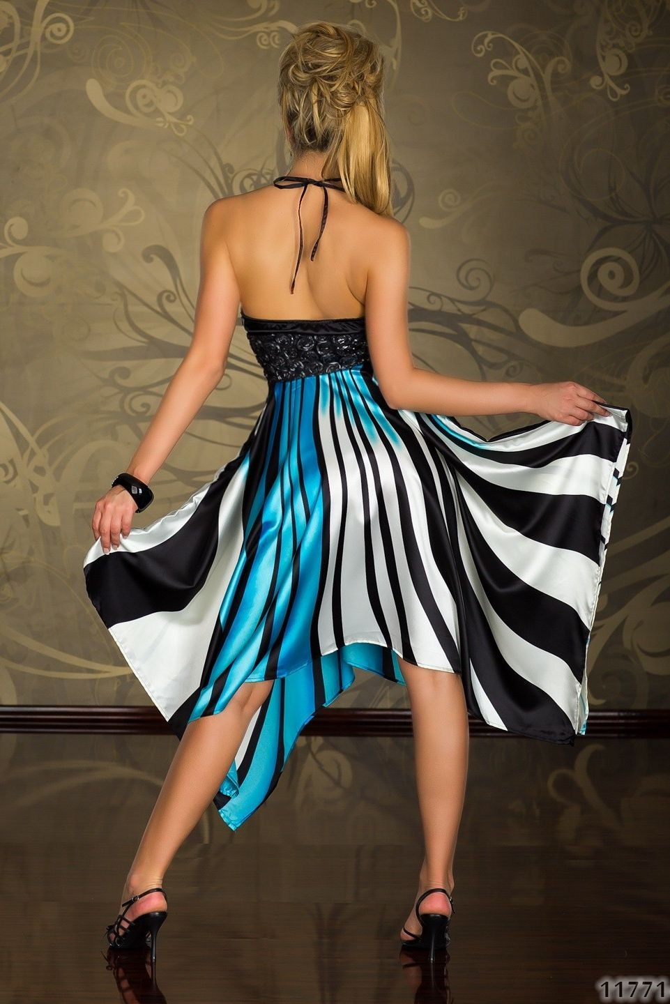 Black Turquoise White Stripes Atlas Dress