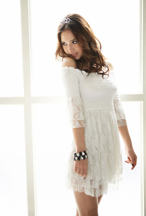 White Lace Babydoll Smocked Dress