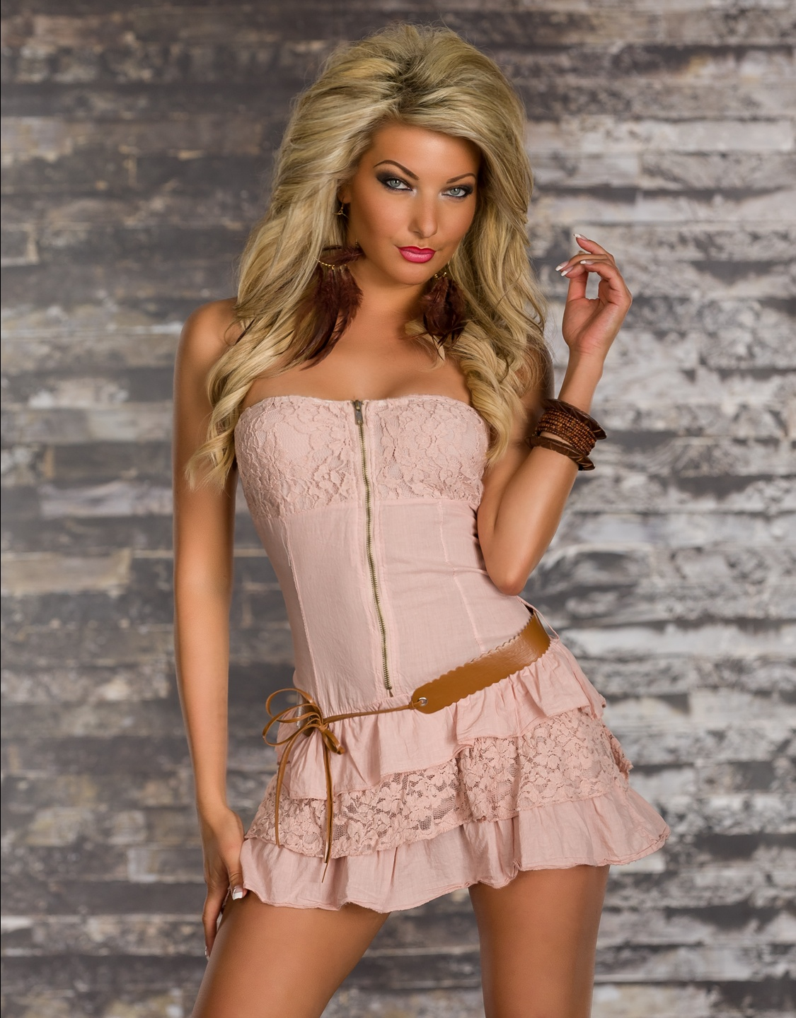 Cream Strapless Belted Ruffled Dress With Lace Details