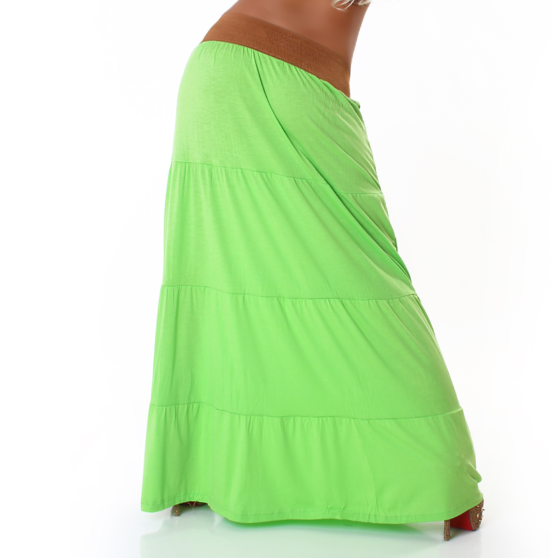 Green Belted Long Skirt