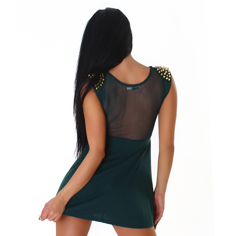 Green Studded Epaulets Short Dress With Semi-Sheer Insets