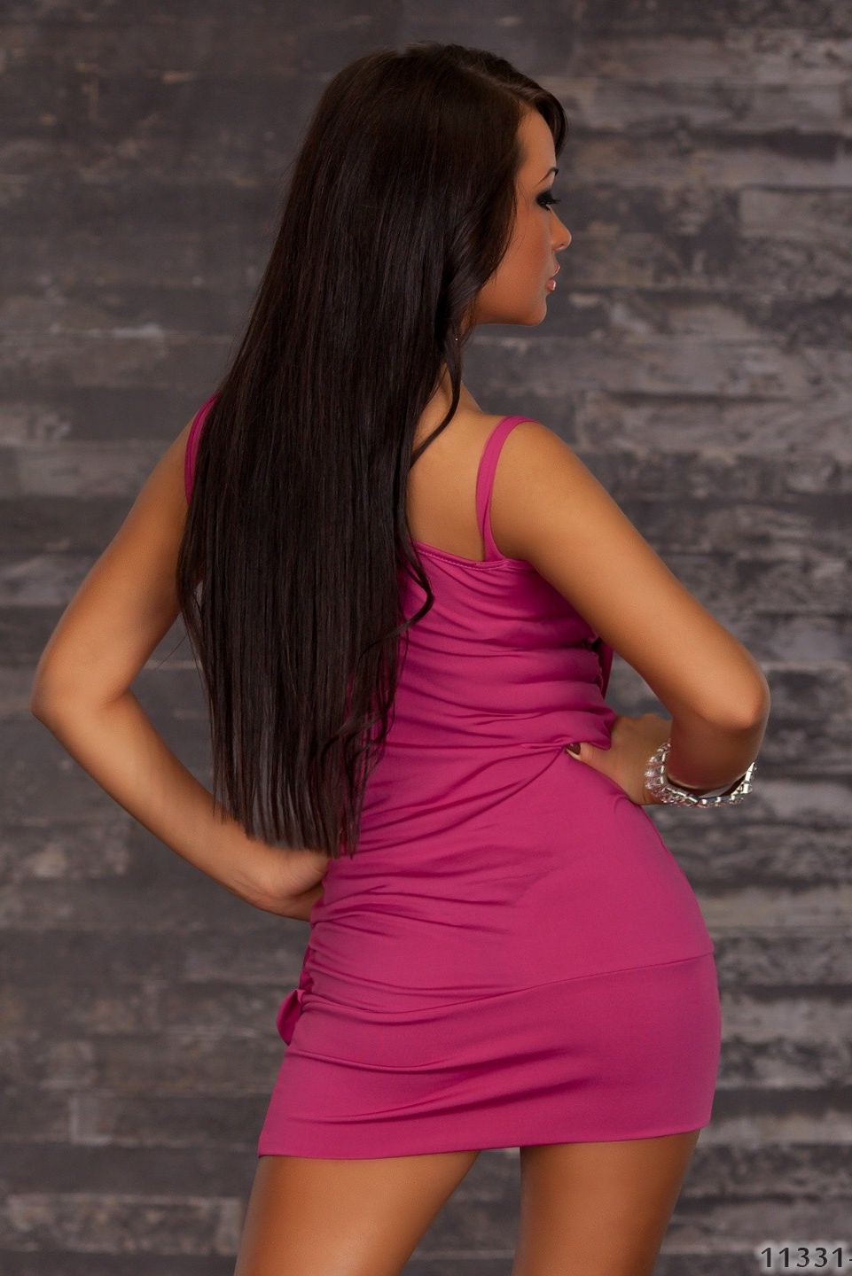 Fuchsia Draped Embellished Dress