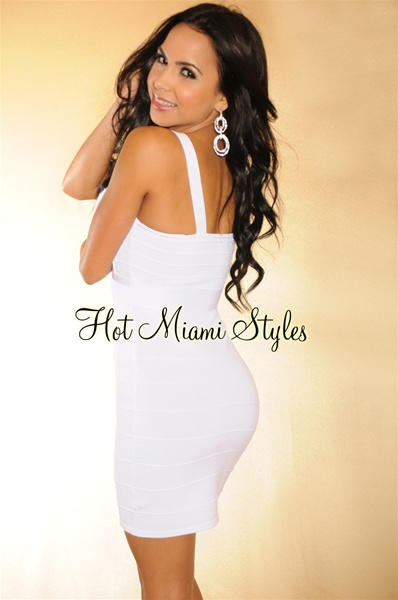 White Shimmer Accent Paneled Bandage Dress
