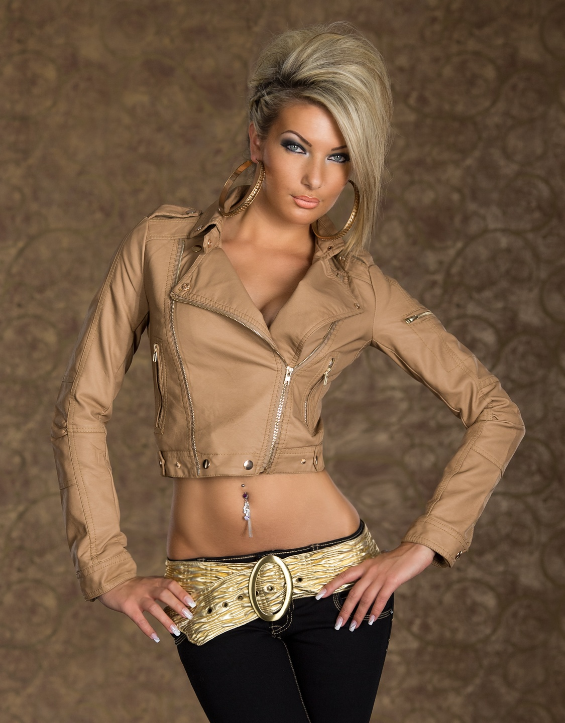 Camel Faux Leather Biker Jacket With Zipper