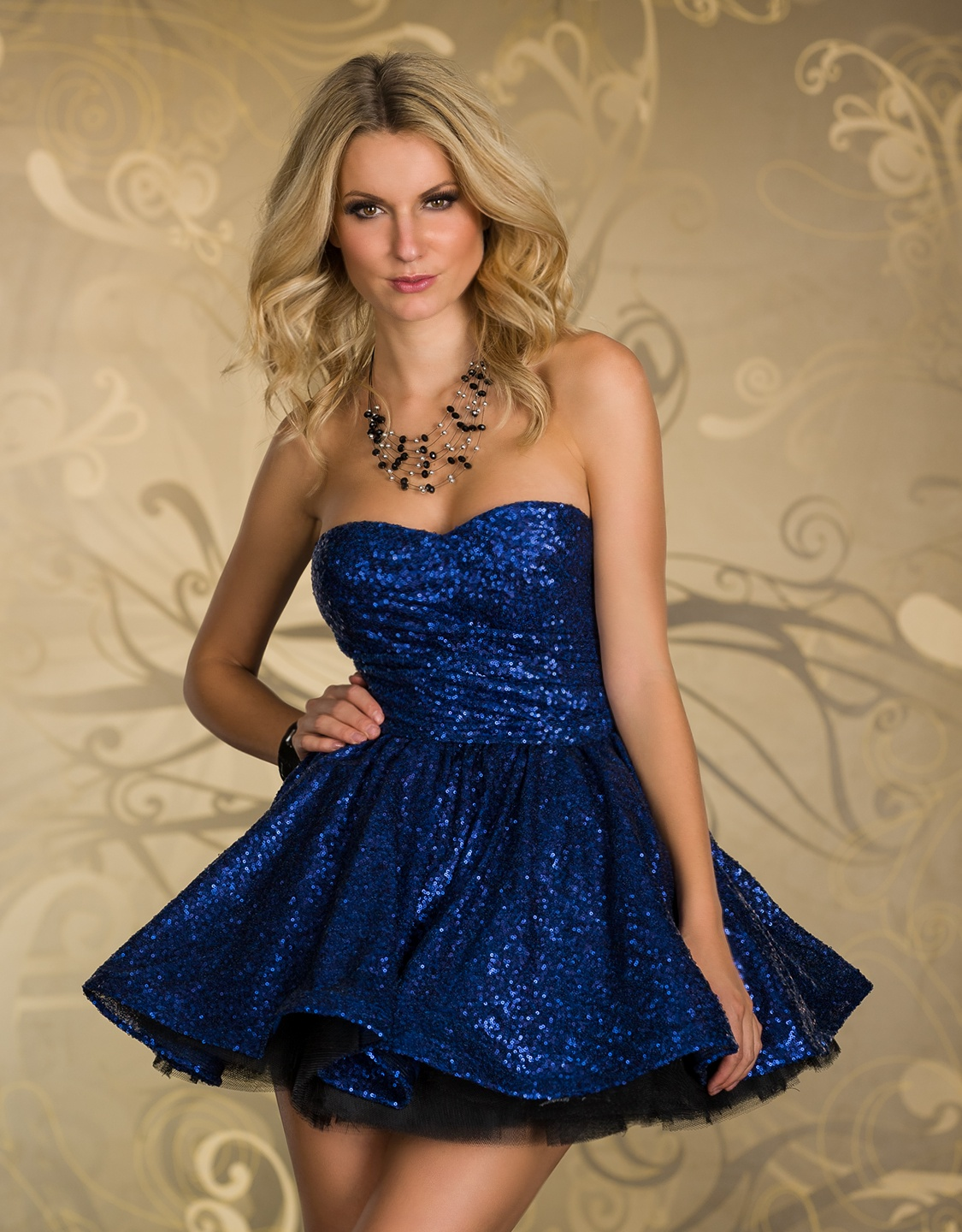 Blue Sequined Strapless Prom Dress With Puffy Skirt