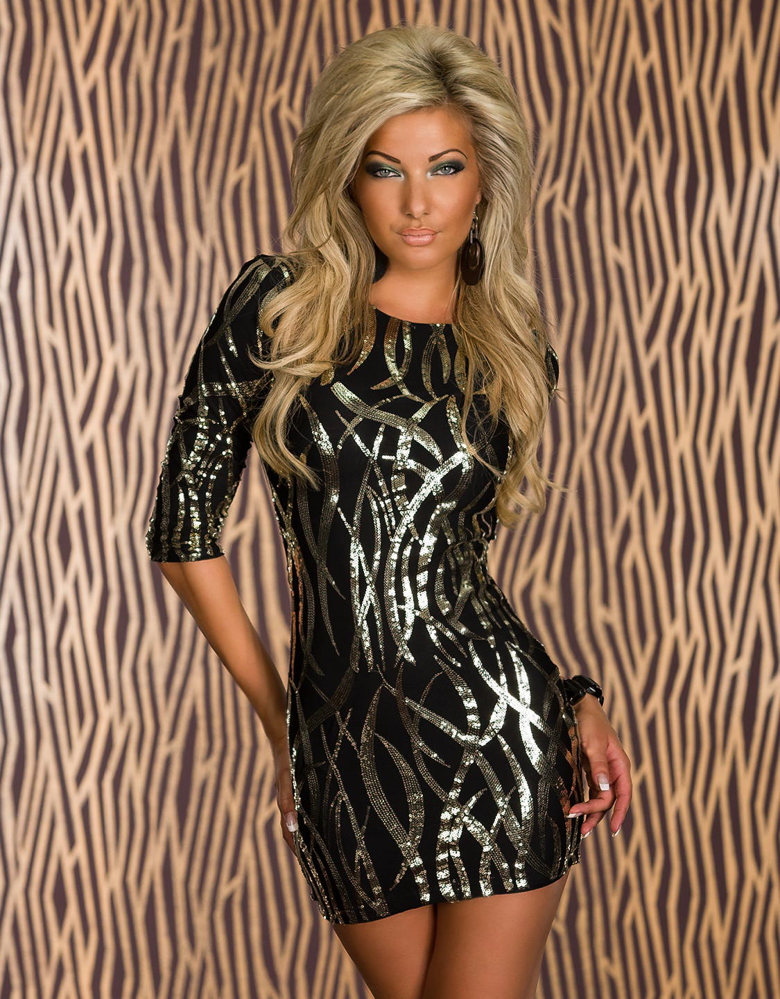 Black 3/4 Sleeves Club Dress With Gold Sequined Pattern