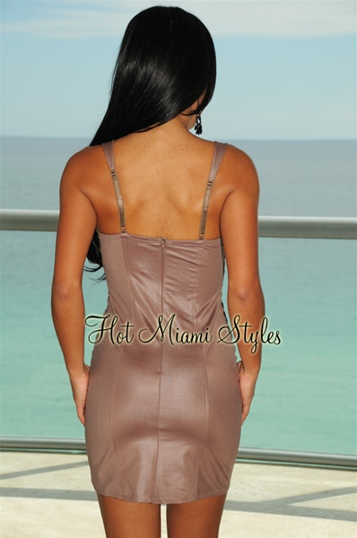 Mocha Padded Corset Beaded Dress