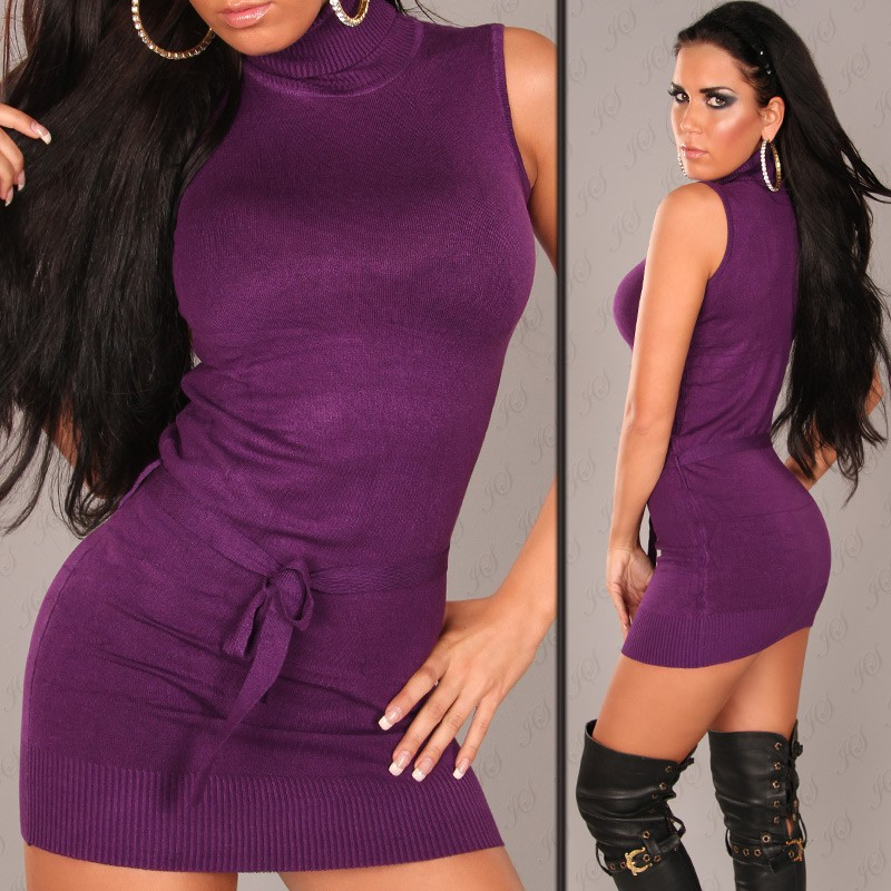 Purple Sexy Turtelneck Longsweater-Minidress With Belt