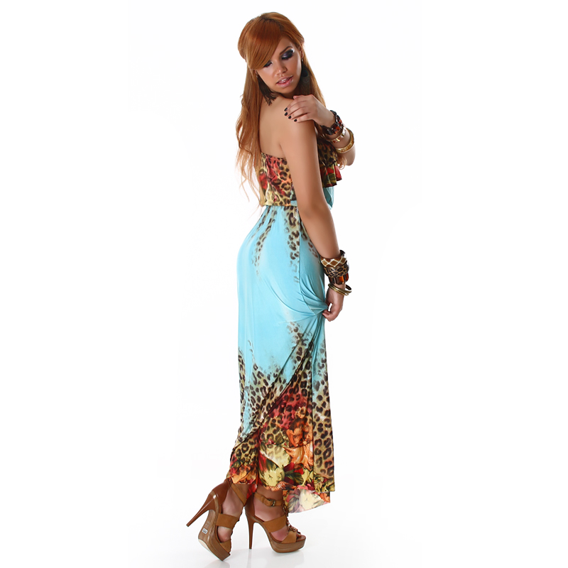 Turquoise Leopard Print Strapless Long Dress With Flounces