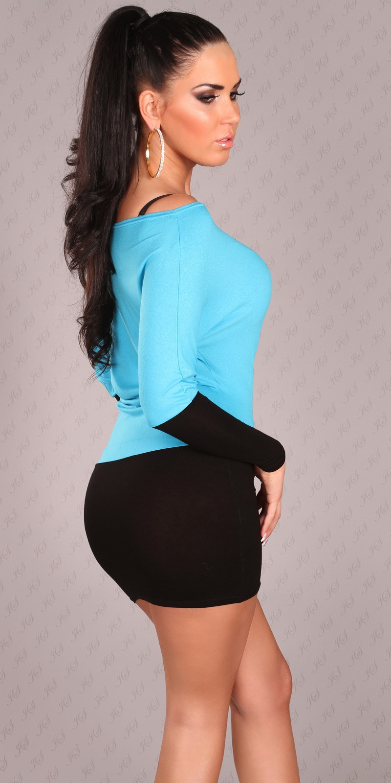 Black-Blue Two-Color Off-Shoulder Dress