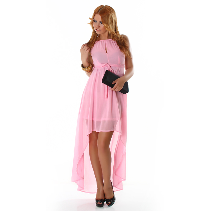 Pink Double Key-Hole High Low Dress