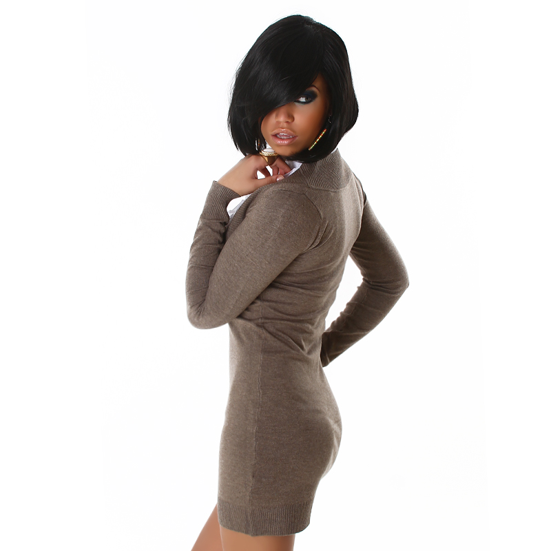 Brown Long Sleeve Office Sweater Dress