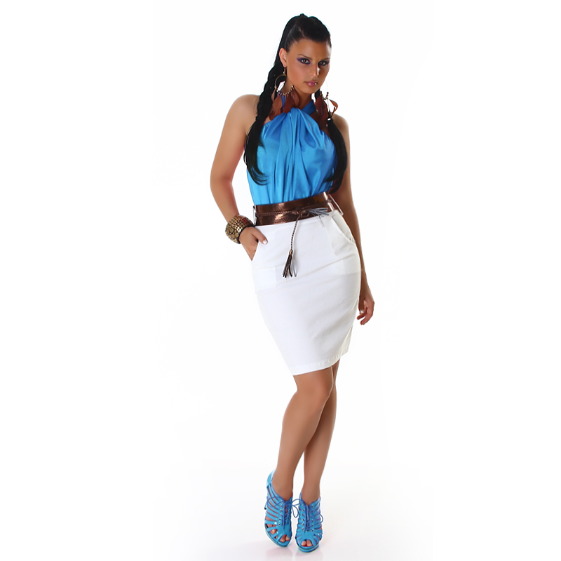 Turquoise-White Two-Color Sleeveless Dress With Bronze Belt