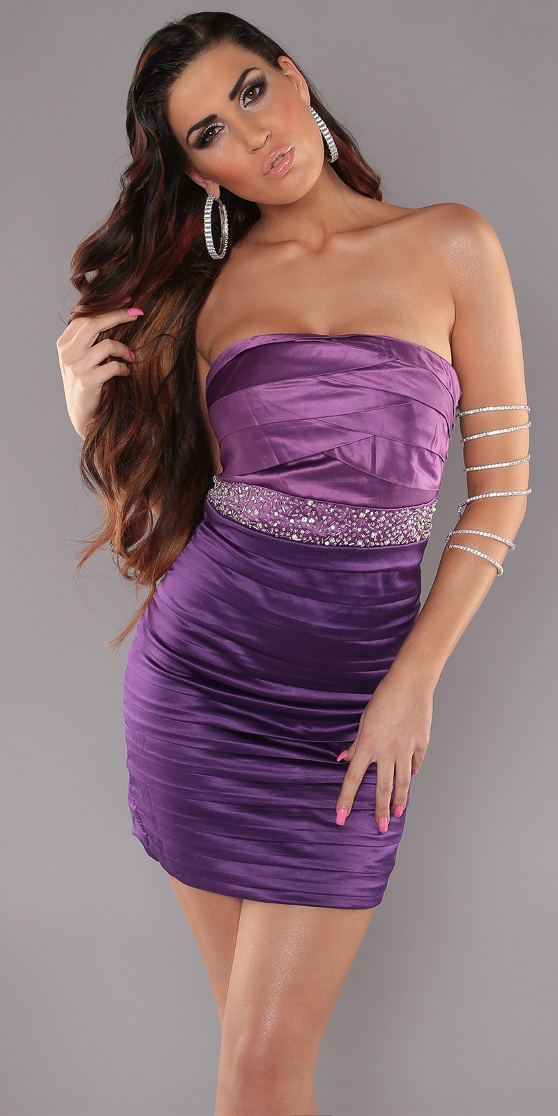 Purple Sexy Pleated Dress With Sequins