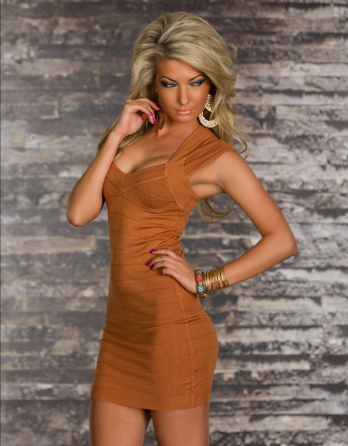 Camel Bodycon Short Bandage Dress With Short Sleeves