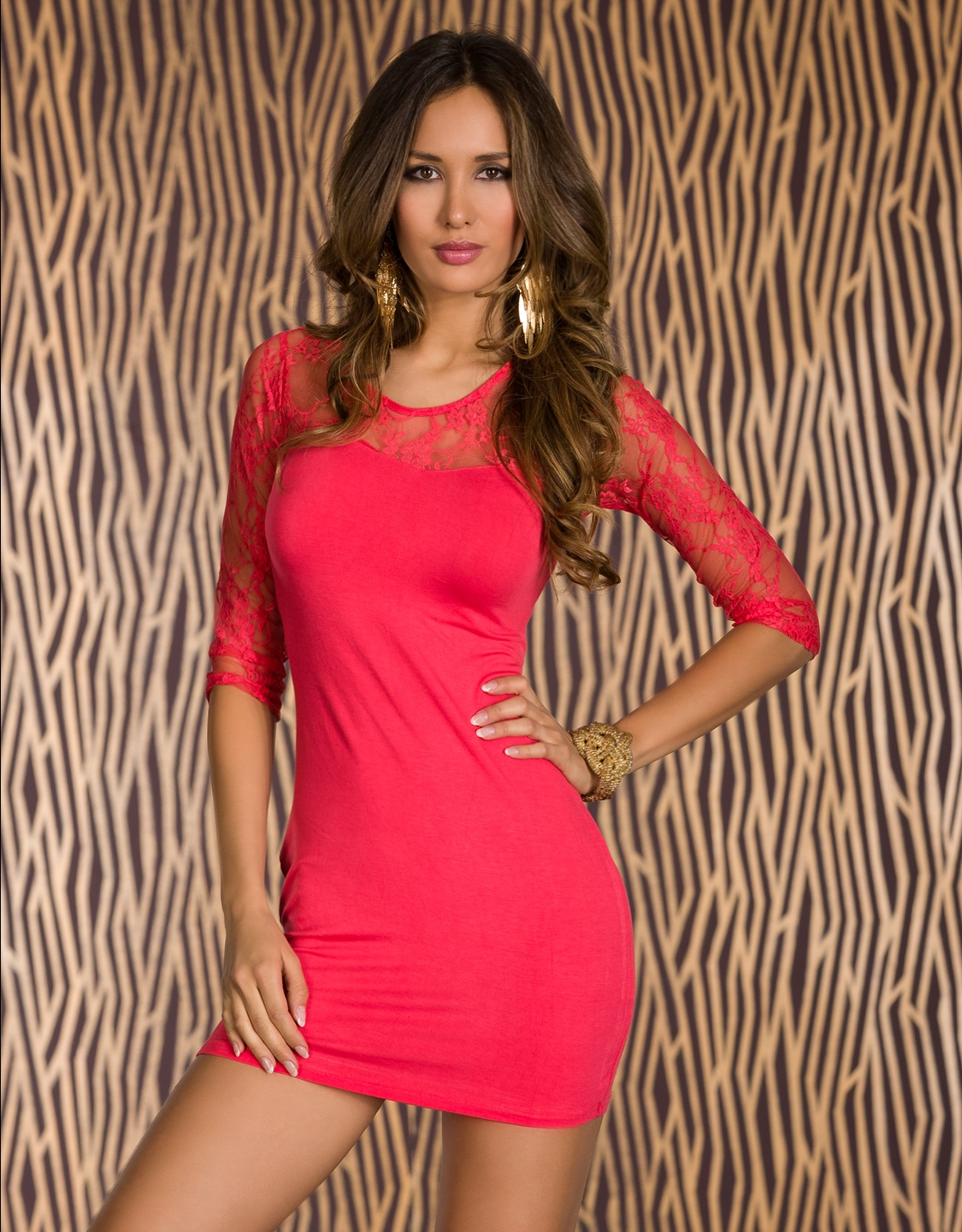 Coral Lace 3/4 Sleeves Short Dress