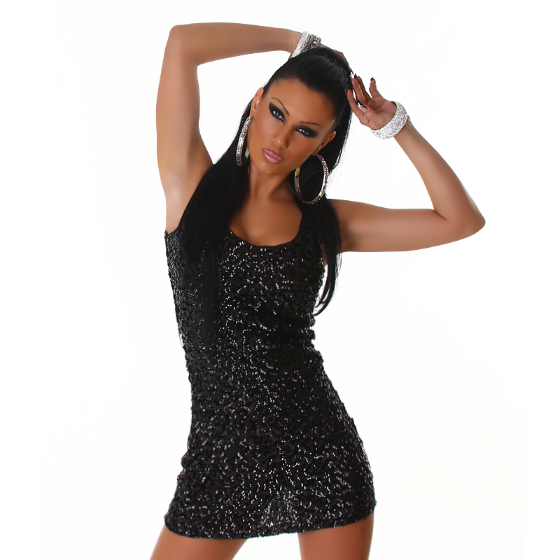 Black Sequined Sleeveless Club Dress