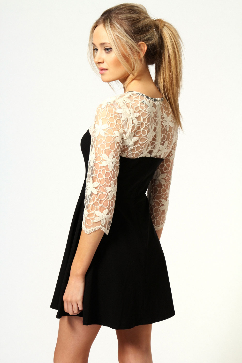 Black Nadine Lace Top Skater Dress