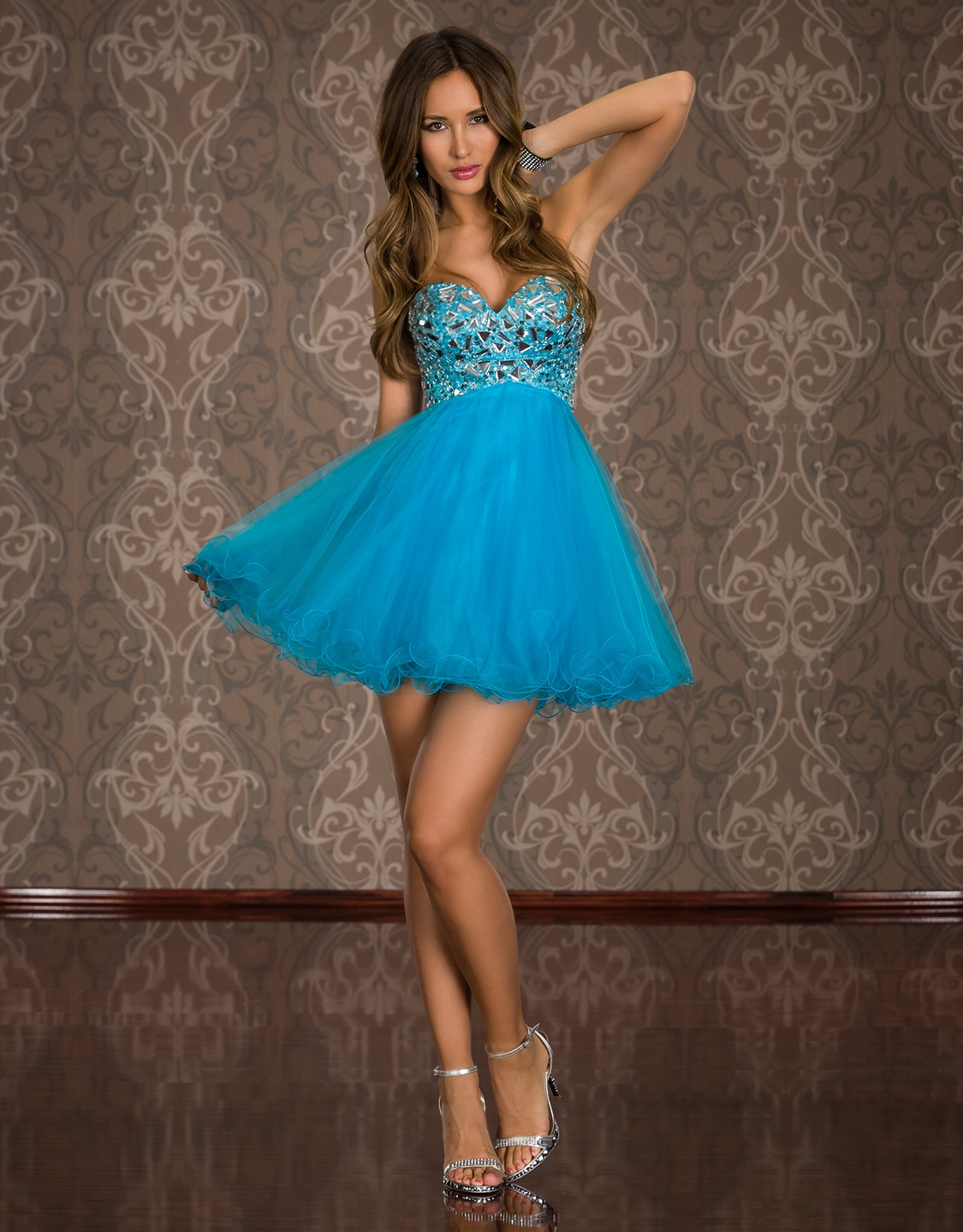 Blue Strapless Prom Evening Dress With Puffy Skirt