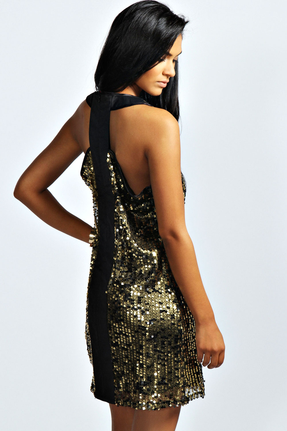 Gold Ebony Printed Sequin Cut Out Party Dress