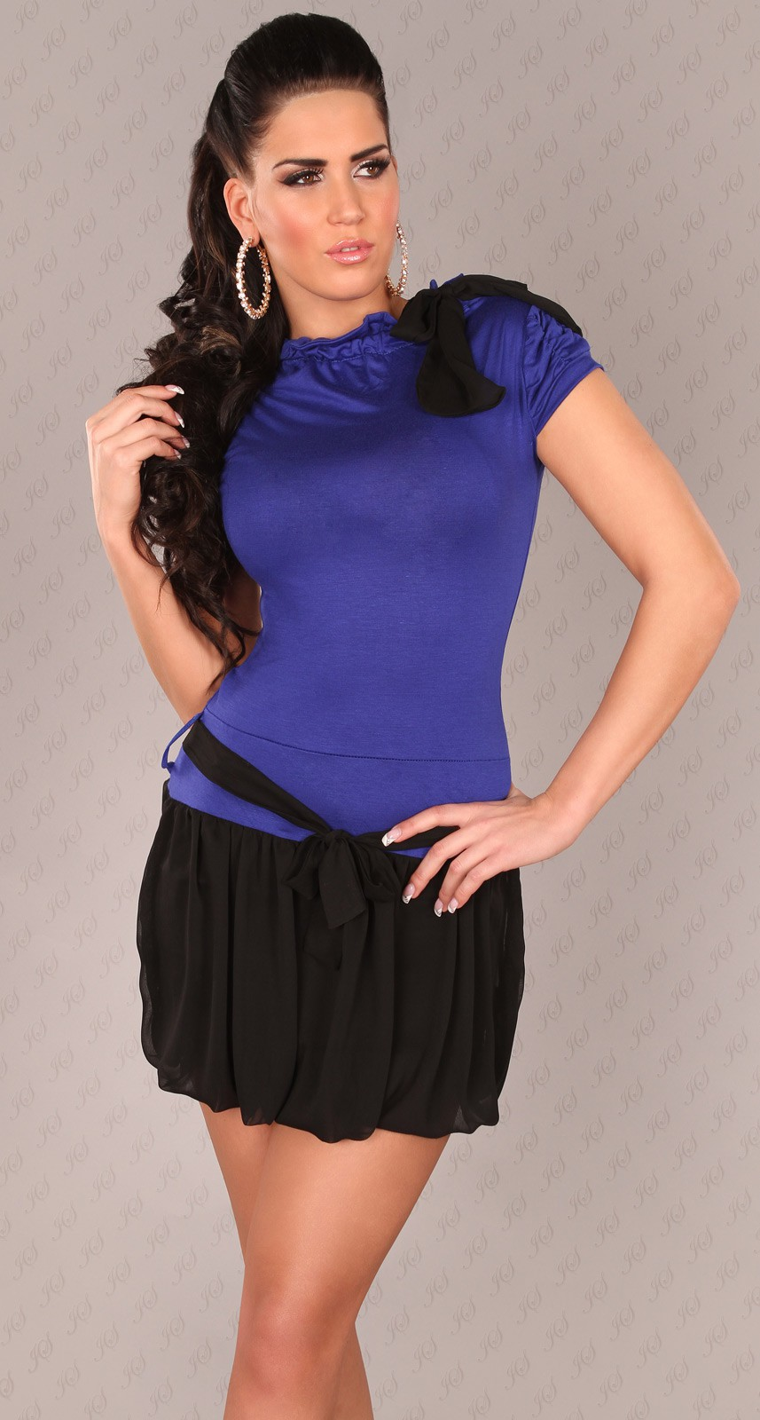 Blue Short Sleeves Bubble Skirt Belted Dress