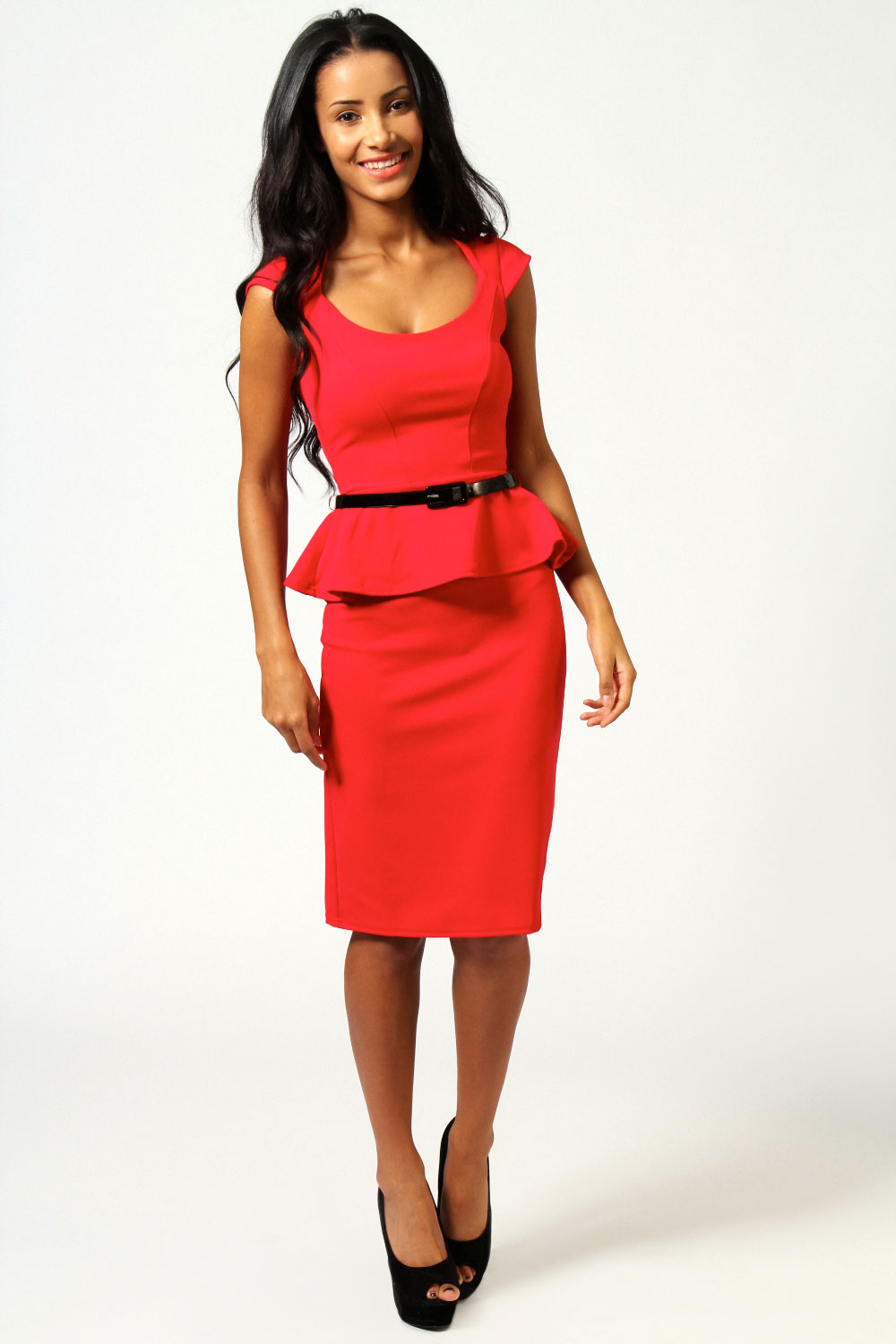 Fuchsia Keeley Peplum Belted Midi Dress