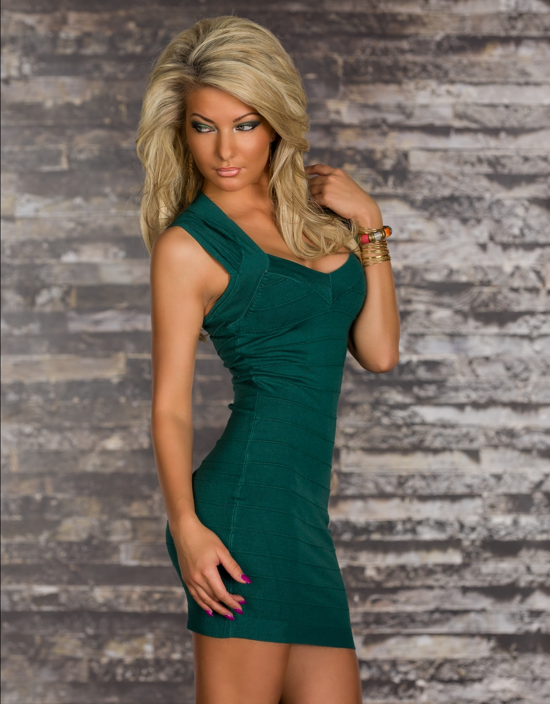 Green Bodycon Short Bandage Dress With Short Sleeves