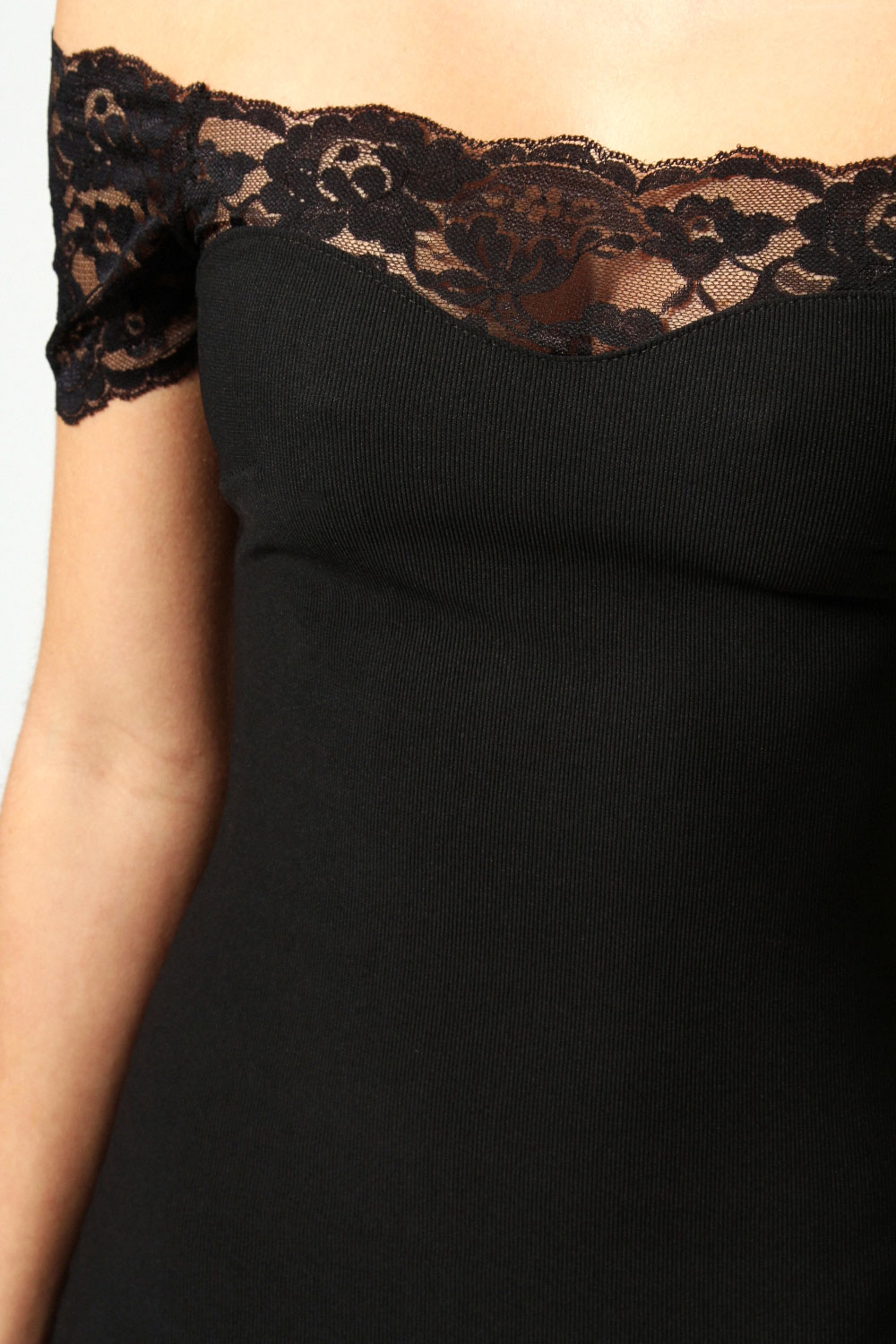 Black Annabelle Scallop Lace Off The Shoulder Midi Dress