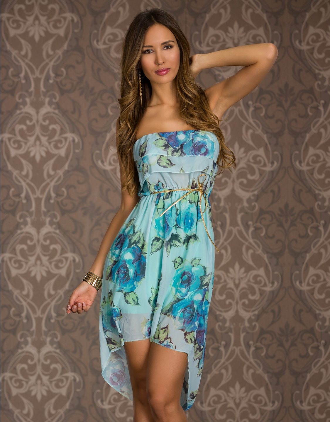 Blue High-Low Floral Flounced Strapless Summer Dress