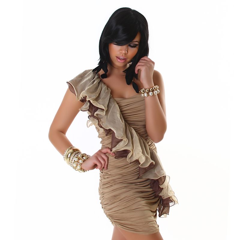 Beige Dress With Diagonal Double Frill