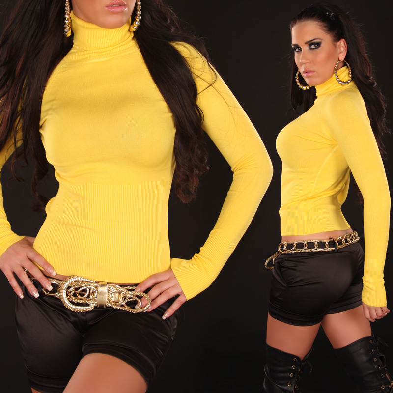 Yellow Sexy Turtleneck Pullover