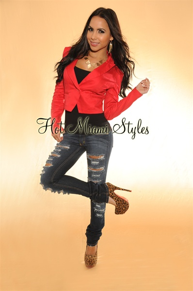Red Single Button Long Sleeves Cropped Jacket