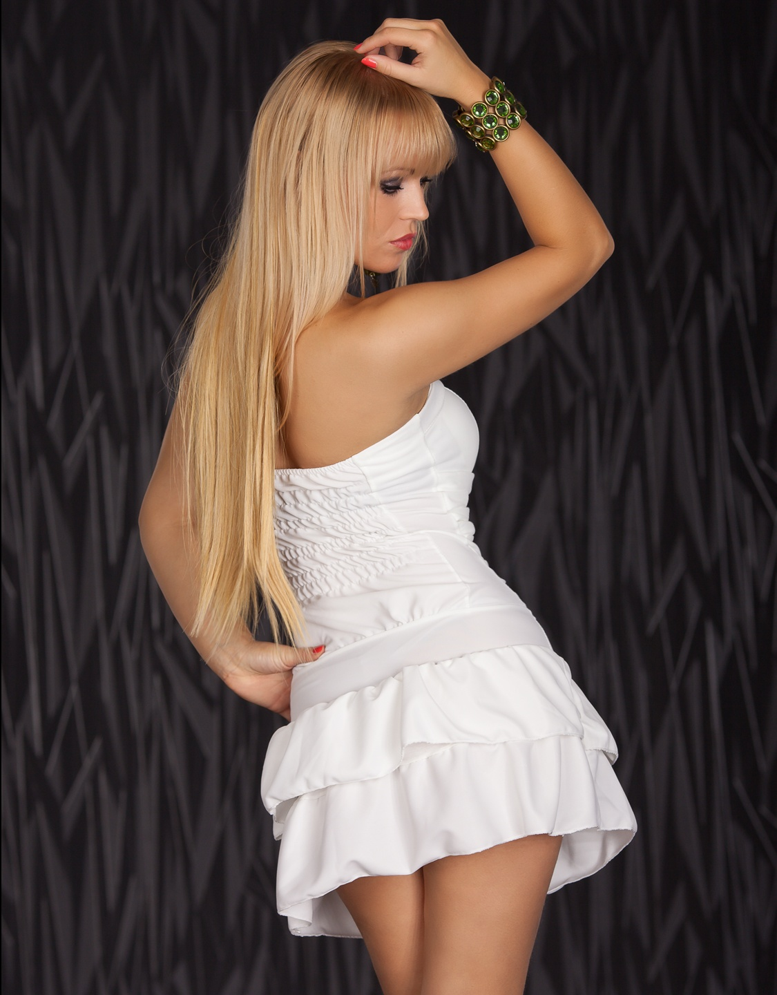 White Strapless Lacing Dress With Flounces